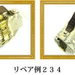 リペア例234:パイソン/クロコダイル 1本手ハンドバッグ ゴールド
